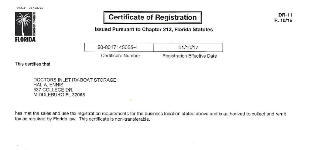 FLORIDA - SALES TAX CERTIFICATE - 2017